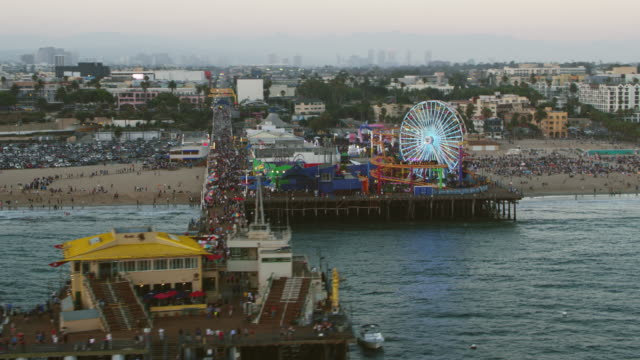 aerial santa monica pier, california - santa monica pier stock videos & royalty-free footage