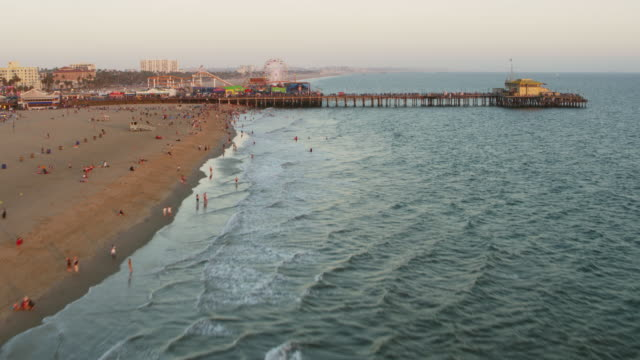 aerial santa monica pier in california, usa - beach stock videos & royalty-free footage