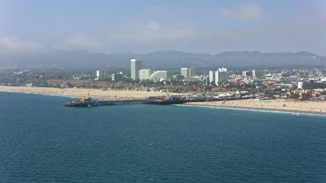 aerial santa monica pier in california - santa monica pier stock videos & royalty-free footage
