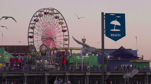 santa monica pier twilight - local landmark stock videos & royalty-free footage