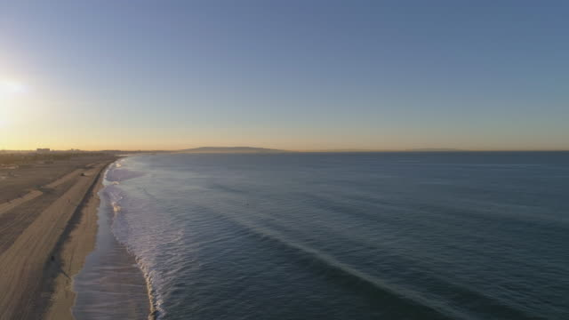 Santa Monica slow motion wave breaking drone pov