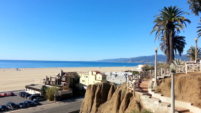 santa monica stairs to the beach - santa monica stock videos & royalty-free footage