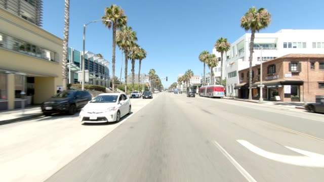 santa monica vii synced series rear view driving process plate - rear view stock videos & royalty-free footage