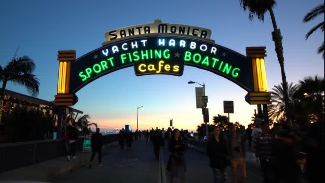 santa monica yacht harbor sign - santa monica pier sign stock videos & royalty-free footage
