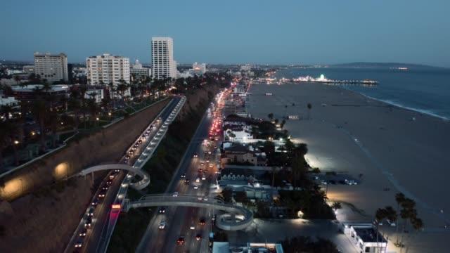 santa monica-pch night aerial - santa monica pier stock videos & royalty-free footage