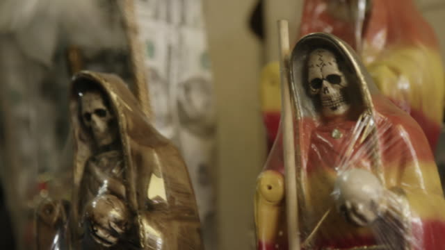 santa muerte figure, close up - afterlife stock videos and b-roll footage