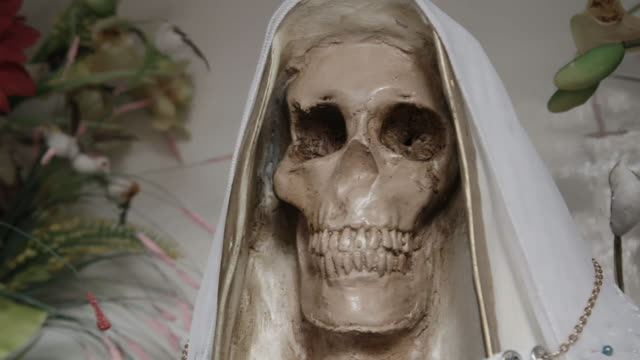 santa muerte statue, close up - afterlife stock videos and b-roll footage
