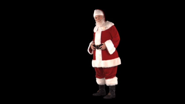 santa presenting something - this clip has an embedded alpha-channel - pre matted stock videos & royalty-free footage