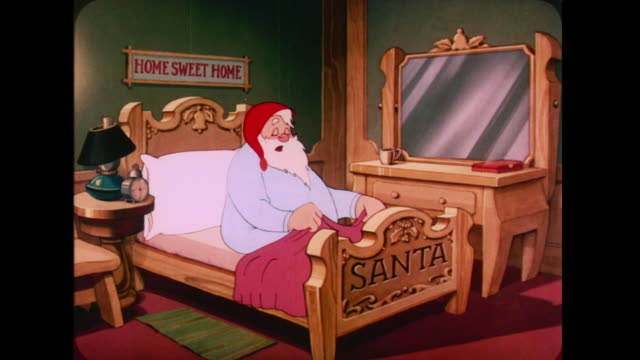1947 santa returns to the north pole and goes to bed - weihnachtsmann stock-videos und b-roll-filmmaterial