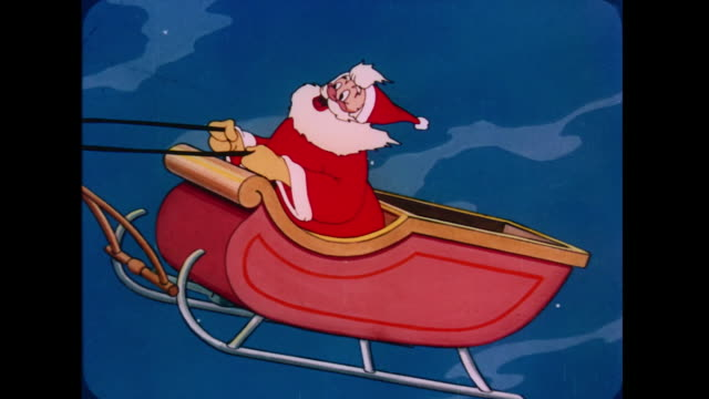 1947 santa sings as he flies his sleigh around the globe at night - anno 1947 video stock e b–roll