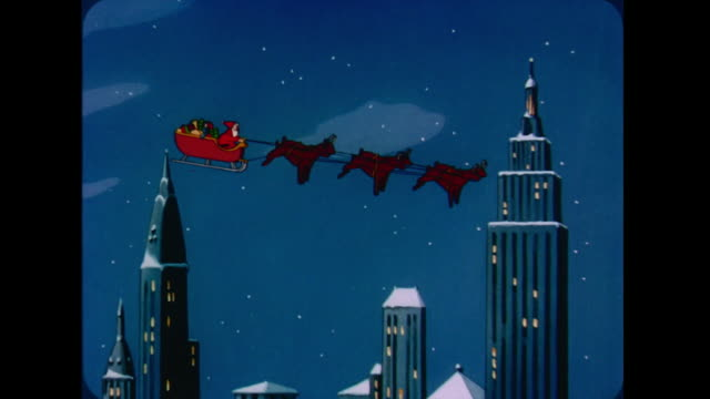 1947 santa sings as he flies his sleigh over an american cityscape at night - anno 1947 video stock e b–roll