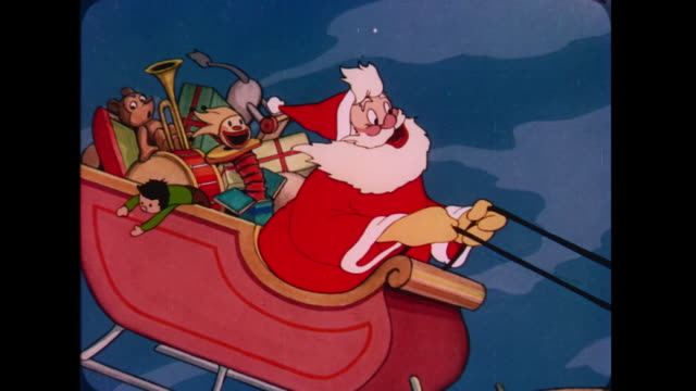 1947 santa sings as he flies his sleigh over windmills at night - 1947年点の映像素材/bロール