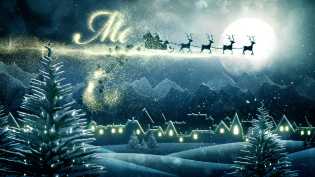 santa sleigh delivering christmas presents (night,with text) - loop - father christmas stock videos & royalty-free footage