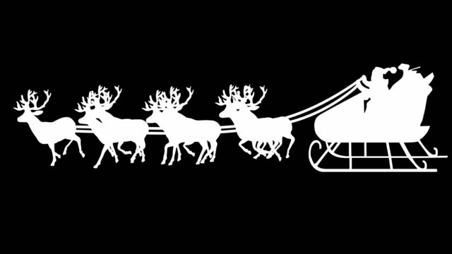 santa sleigh silhouette (luma matte) | loopable - sledge stock videos & royalty-free footage