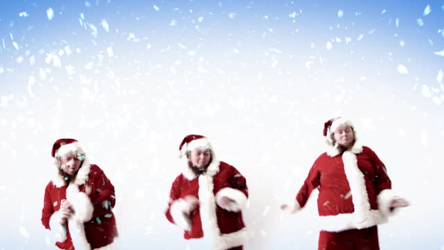 santa snow line dancing - funny merry christmas greetings stock videos and b-roll footage