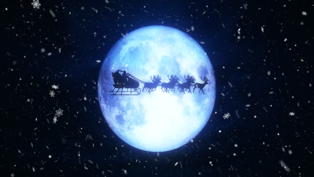 santa with reindeer fly over moon - palla dell'albero di natale video stock e b–roll