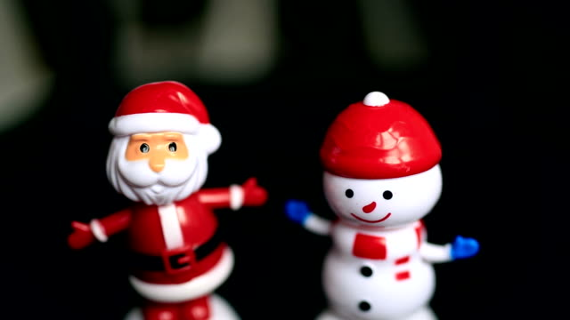Santaclause, Snowman, black background, funny, happy