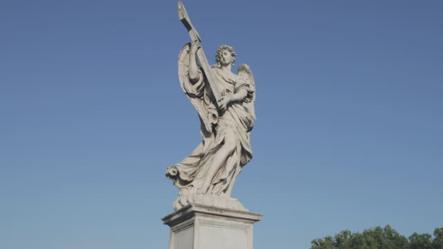 sant'angelo bridge with angels statues in rome, italy - pons stock videos & royalty-free footage