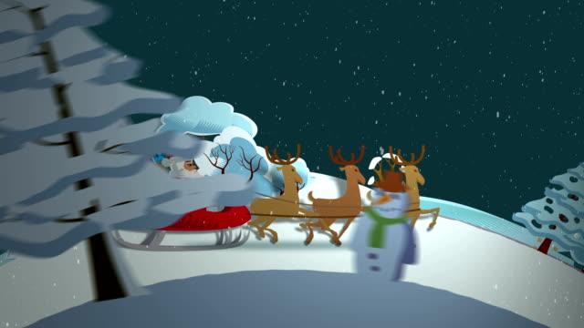 Santa's Fahrt durch die Landschaft