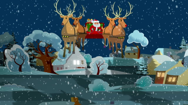 santa's ride through countryside village - sledge stock videos & royalty-free footage