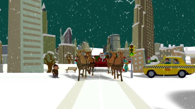 santa's ride through new york - sledge stock videos & royalty-free footage