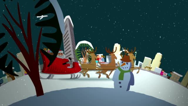 santa's ride through new york - sledge stock videos & royalty-free footage