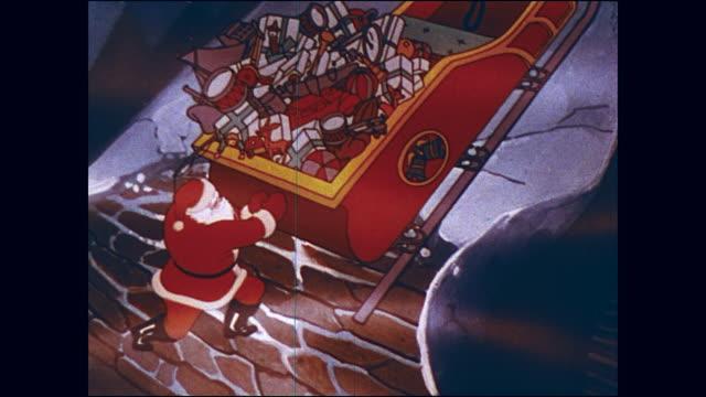 stockvideo's en b-roll-footage met santa's sleigh lands on roof of house - kerstman