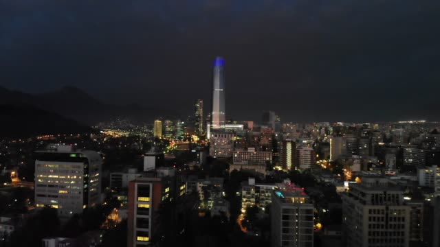 Santiago Chile at night from a drone