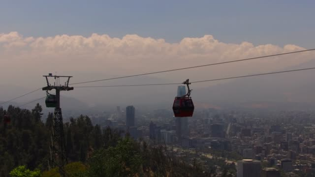 santiago chile view with the cable car on sancristobal hill - chile stock videos & royalty-free footage