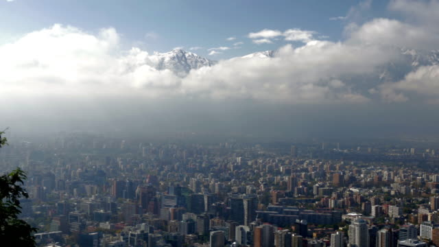 santiago de chile aerial view of the city from cerro san cristobal - prosperity stock videos & royalty-free footage