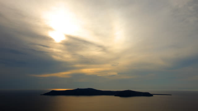 santorini caldera sunset 1 - cloudscape stock videos & royalty-free footage