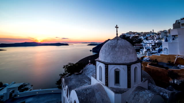 stockvideo's en b-roll-footage met santorini church time-lapse - oia santorini