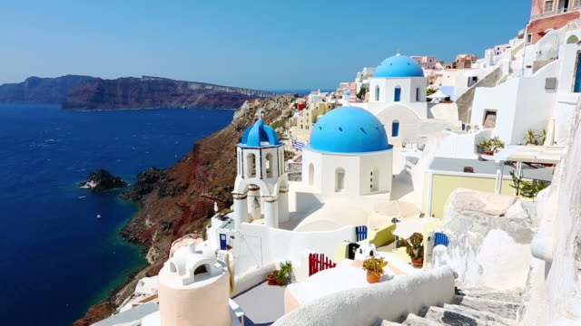hd: santorini famous churches - oia santorini stock videos & royalty-free footage