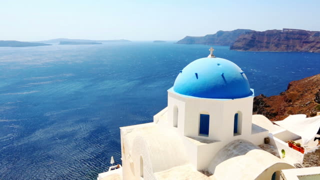 hd: santorini famous churches - greece stock videos & royalty-free footage