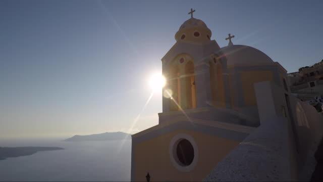 santorini greece greek flag greek island - ギリシャ国旗点の映像素材/bロール