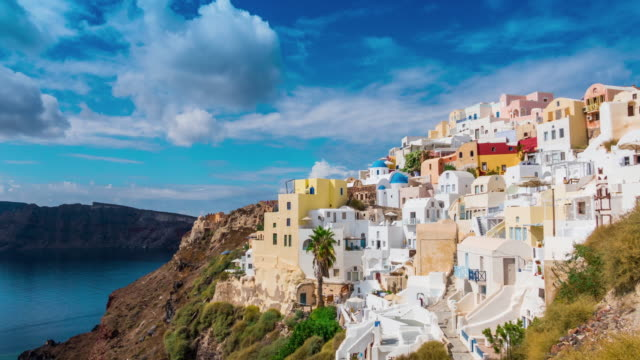 4k santorini timelapse - oia santorini stock videos & royalty-free footage
