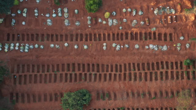 sao paulo cemetery aerial view during covid-19 crisis - cemetery stock videos & royalty-free footage