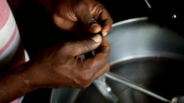 Sao Tomé and Principe, Sao Tomé island, chocolate production, roasting phase at the chocolate company of Claudio Corallo