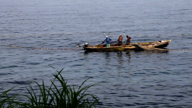 sao tomé and principe, sao tomé island, lagoa azul, fishermen with their traditional boats dug in a single trunk - azul stock videos & royalty-free footage