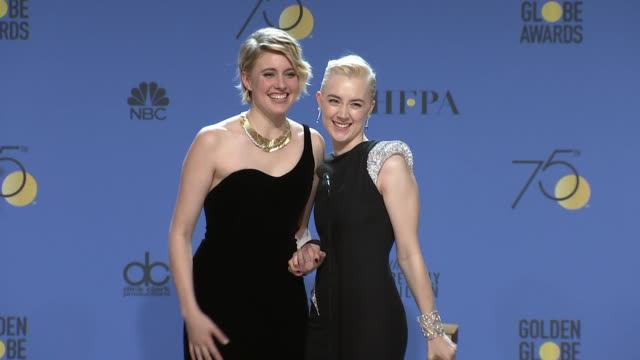 speech saoirse ronan and greta gerwig at the 75th annual golden globe awards press room at the beverly hilton hotel on january 07 2018 in beverly... - golden globe awards stock-videos und b-roll-filmmaterial
