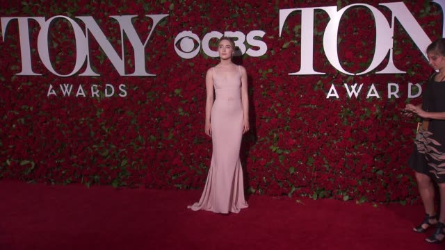 saoirse ronan at 2016 tony awards red carpet at the beacon theatre on june 12 2016 in new york city - 70th annual tony awards stock videos and b-roll footage