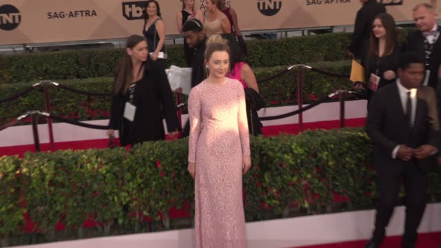 saoirse ronan at 22nd annual screen actors guild awards - arrivals in los angeles, ca 1/30/16. 4k available - contact getty sales - screen actors guild stock videos & royalty-free footage