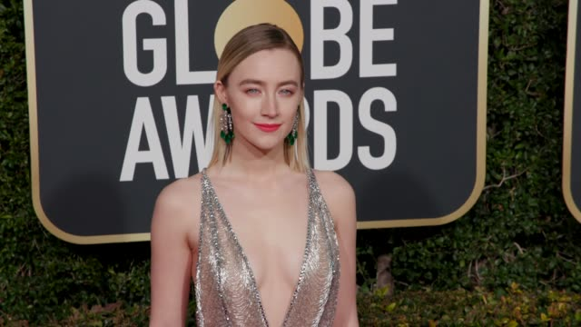 saoirse ronan at 76th annual golden globe awards - arrivals in los angeles, ca 1/6/19 - 4k footage - golden globe awards stock videos & royalty-free footage