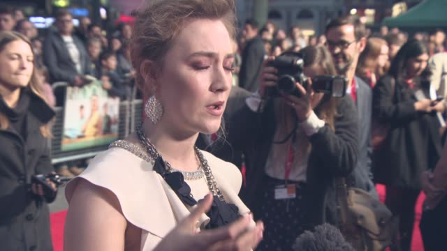 saoirse ronan at 'brooklyn' the mayfair hotel gala 59th bfi london film festival at odeon leicester square on october 12 2015 in london england - odeon leicester square stock videos and b-roll footage