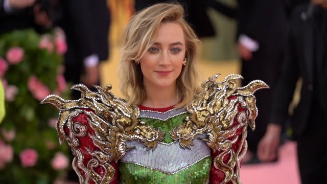 saoirse ronan at the 2019 met gala celebrating camp: notes on fashion - arrivals at metropolitan museum of art on may 06, 2019 in new york city. - gala stock videos & royalty-free footage