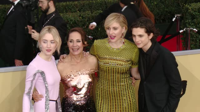 saoirse ronan, laurie metcalf, greta gerwig and timothée chalamet at the 24th annual screen actors guild awards at the shrine auditorium on january... - screen actors guild awards stock videos & royalty-free footage