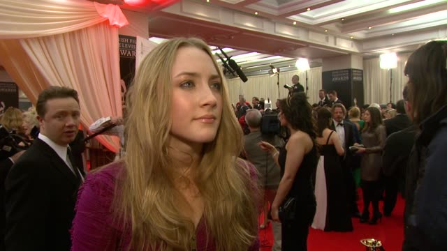 saoirse ronan on being nominated on her slew of nominations recently and how special her award winning roles mean to her at the irish film television... - television awards stock videos & royalty-free footage