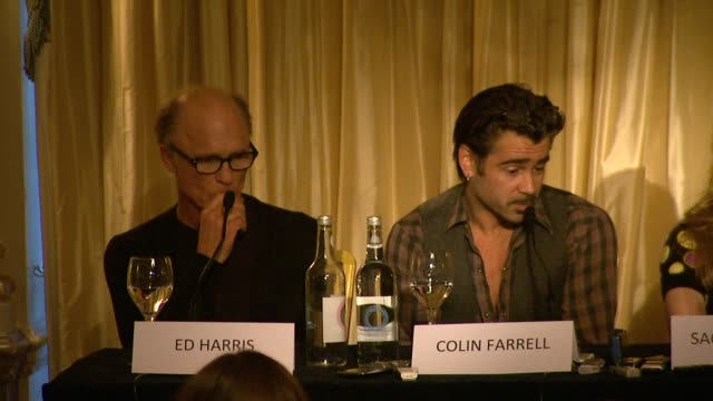 saoirse ronan on working with colin farrell at the the way back press conference at london england. - colin farrell stock videos & royalty-free footage