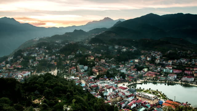 sapa valley city in the mist in the morning, vietnam timelapse - hanoi stock videos and b-roll footage