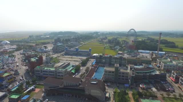 sapgyoho amusement park and military ships near sapgyoho ocean park / dangjin-si, chungcheongnam-do, south korea - luogo d'interesse locale video stock e b–roll